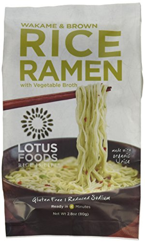 Lotus Foods Wakame and Brown Rice Ramen with Vegetable Soup, Lower Sodium, 10 Count
