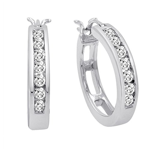 AGS Certified 1/2ct TW Diamond Hoop Earrings in 10K White Gold ()