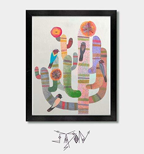 The Gathering. Mexican, Arizona, Phoenix, Southwest, Texas, Tucson, Cactus Print, Cactus Decor, Boho, Cacti, Art Print, Desert, Birds, Bird Print, Mexican Folk Art, Mexico, Modern Wall Art, Home Decor by Jason Smith Art