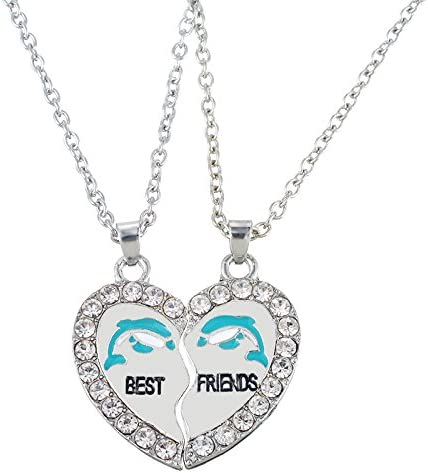 Best Friends PENGUIN Silver Heart Necklace Pendant Set of 2 necklaces bff