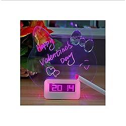 New 2015 Alarm Clock Luminous Fluorescent Led Message Board Gentle Wake Cute Cat Shape