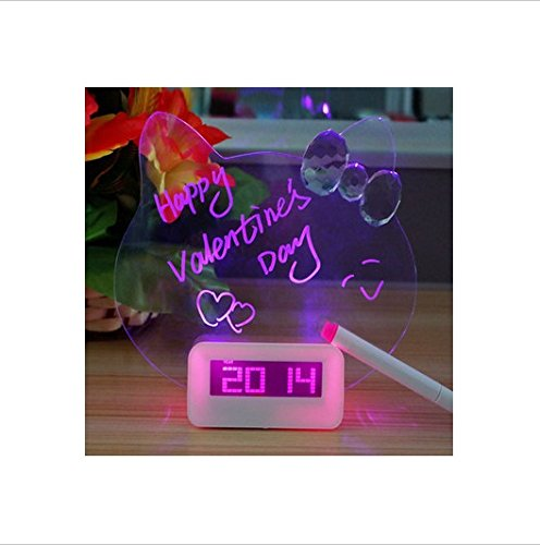 New 2015 Alarm Clock Luminous Fluorescent Led Message Board Gentle Wake Cute Cat Shape