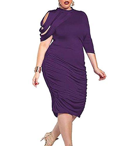 Evening Mini Women Sexy Bodycon Mini Dress Purple Jaycargogo Party Irregular xAdX6w6Iq
