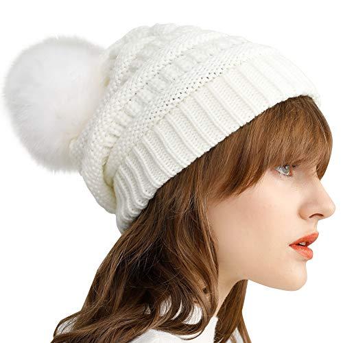 (Yetagoo Slouchy Winter Knit Beanie Cap Chunky Faux Fur Pom Pom Hat Bobble Ski Cap (White 02))