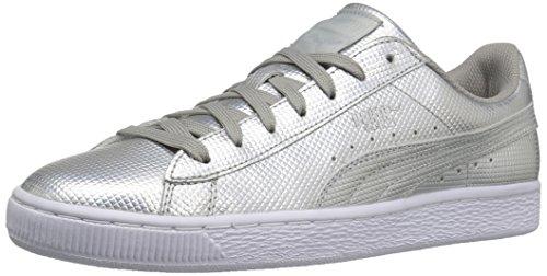 Men's Holographic Puma Basket Silver Sneaker Fashion Classic Puma gt44w