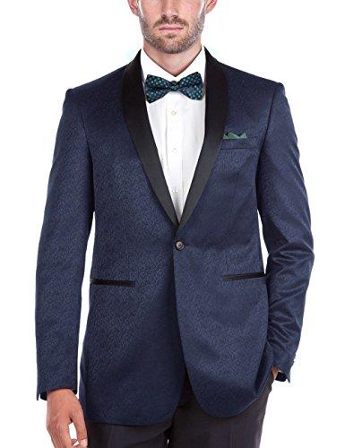 Textured Blazer Jacket (Chama Mens Black & Navy Blue Textured Tuxedo Dinner Jacket Blazer With Shawl Collar (Navy, 36S))