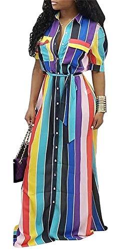Womens Rainbow Stripe Print Shirt Dress Casual Botton Down Long Maxi Dress with Belt
