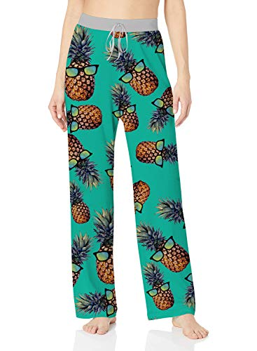 ALISISTER Pineapple Pajamas Womens Soft Palazzo Lounge Pants 90S Casual Loose Pregnant Sleepwear Bottom Wide Leg Long Home Relaxed Clothing XL
