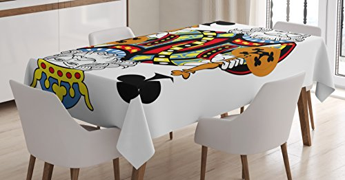 Ambesonne King Tablecloth, King of Clubs Playing Gambling Poker Card Game Leisure Theme Without Frame Artwork, Dining Room Kitchen Rectangular Table Cover, 52