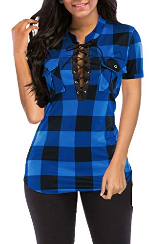 (Women's Blouse Classic V Neck Plaid Shirts Short Sleeve Blouses Top with Pockets Blue XL)