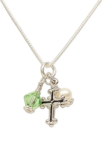 Girl's First Communion Sterling Silver August Swarovski-Created Birthstone Cross Necklace with Cultured Pearl
