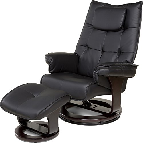 Relaxzen 60-051005 8-Motor Massage Recliner with Lumbar Heat and Ottoman, Black