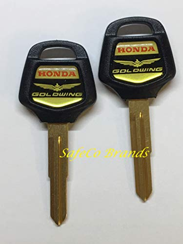 2-Honda Goldwing Key Blanks with Logo Fits 2001 thru 2018 Uncut Blanks SafeCo ()