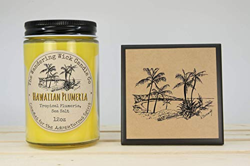 (FREE Shipping - Hawaiian Plumeria Flower and Sea Salt Scented Candle + Ceramic Coaster & Gift Card with Envelope featuring my Original Artwork Drawings)