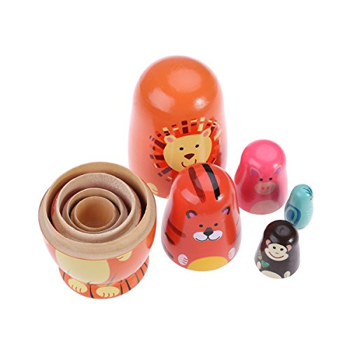 TOYMYTOY Nesting Dolls Five Cute Russian Dolls Toy Gift by TOYMYTOY (Image #4)