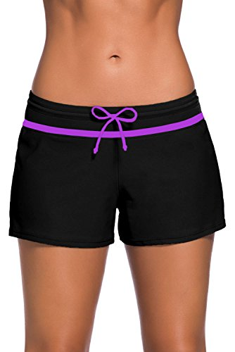 ZKESS Womens Tankini Bottoms Swim Shorts Pant Summer Tankinis Swimsuit With Briefs Insert L Size Lake Purple (Lined Spandex Briefs)