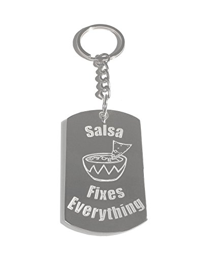 (Hat Shark Salsa Fixes Everything - Metal Ring Key Chain Keychain)