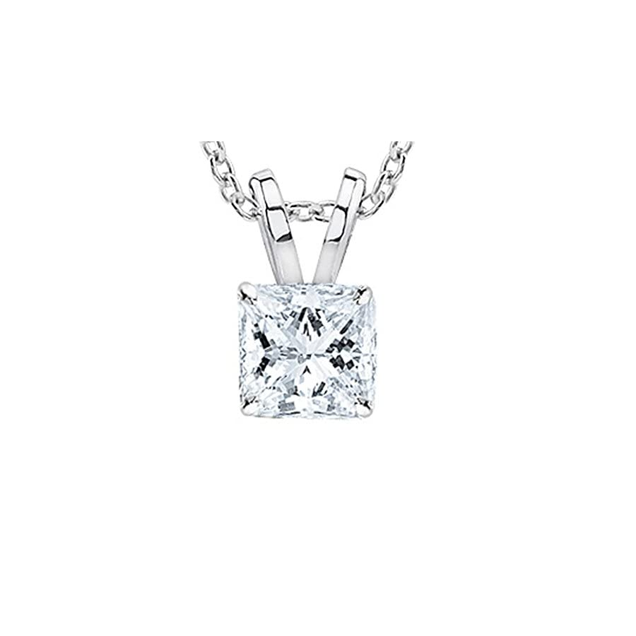 "0.54 Carat GIA Certified Princess Diamond Solitaire Pendant Necklace H Color VVS2 Clarity w/18"" 14K Gold Chain"