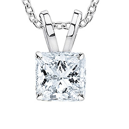 "0.74 Carat Platinum Princess Diamond Solitaire Pendant Necklace H-I Color VS1-VS2 w/ 16"" 14K White Gold Chain"