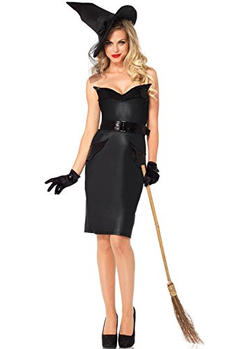[Mememall Fashion Classy Classic Vintage Witch Retro Dress and Hat Outfit Adult Costume] (Adult Vintage Witch Costumes)