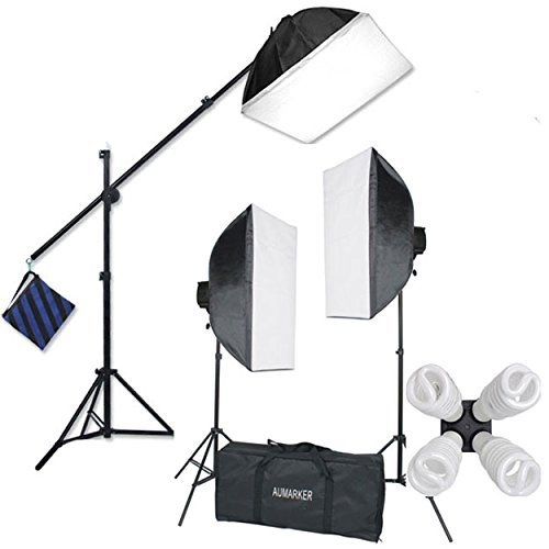 "StudioFX H9004SB2 2400 Watt Large Photography Softbox Continuous Photo Lighting Kit 16"" x 24"" + Boom Arm Hairlight with Sandbag H9004SB2 by Kaezi from StudioFX"