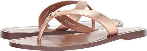Coach Women's Thong Sandal Rose Gold Metallic Leather 6 M ()