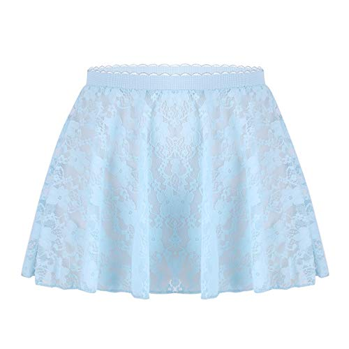 Freebily Kid Girls Ballet Dance Chiffon Mini Pull-On Wrap Skirt Basic Classic Skate Over Scarf Tutu Skirts Ballerina Costume Sky Blue (Lace) 5-6