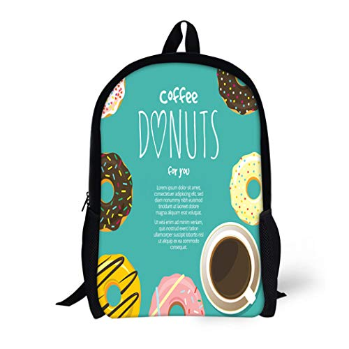(Pinbeam Backpack Travel Daypack Cup of Coffee Hot Chocolate and Donuts Around Waterproof School Bag)