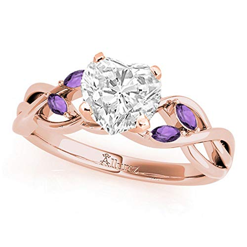 Twisted Heart Amethysts Engagement Ring 14k Rose Gold (1.50ct)