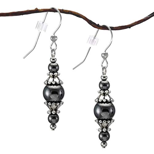 Hematite and Pewter Earrings with Sterling Silver Earwires