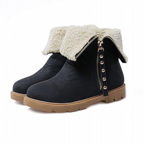 Carolbar Damesmode Rits Faux Fur Decoraties Warme Winter Comfort Platte Snowboots Zwart
