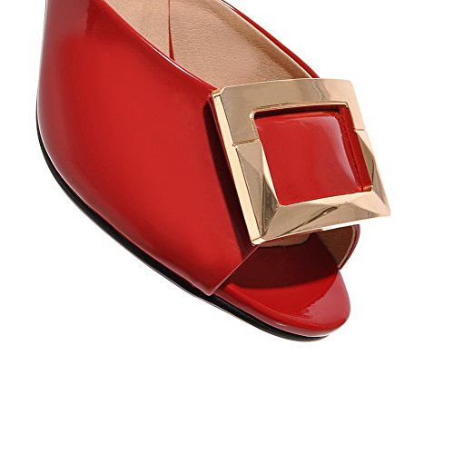 Adee On Cone Ladies Red Shape Sandals Heel Pull Polyurethane Metalornament ffHwqBrx