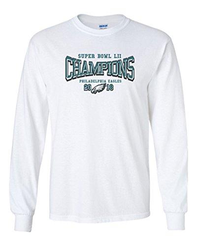 2018 Super Bowl Lii 52 Champions Eagles Men's Gildan Long Sleeve T-Shirt Football Tee Champs New – White