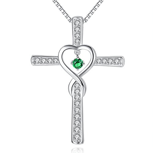 May Emerald Birthstone Infinity Endless Love God Cross Pendant Necklace, Birthday Necklace, Jewelry Gifts for Women Girls Sister Wife Girlfriend Mom Mother Grandma Daughter Friendship