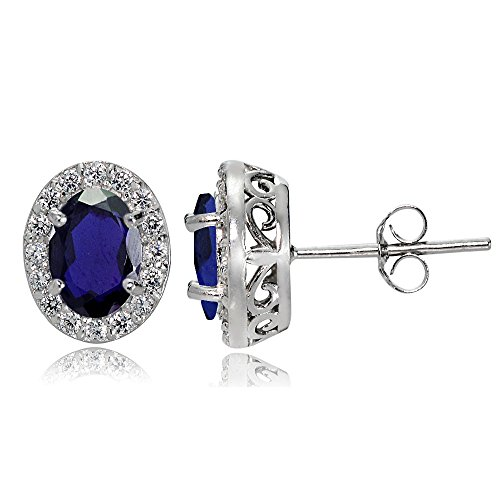 Sterling Silver Created Blue Sapphire and White Topaz Oval Halo Stud Earrings