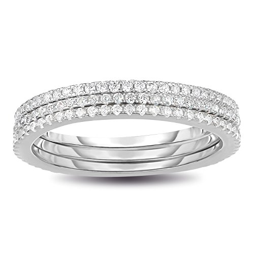 925 Sterling Silver CZ Simulated Diamond 3pcs Stackable Eternity Ring Size 7 (Rhodium Plated)