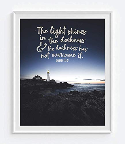 The Light Shines in the Darkness, John 1:5 Photography Print, Unframed, Lighthouse with Night Sky Bible Verse Wall Art Decor Poster Sign, Christian Art Gift, All Sizes