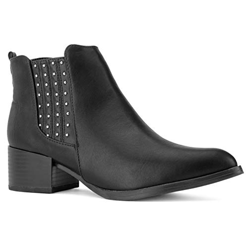 (RF ROOM OF FASHION Women's Pointy Toe Low Chunky Heel Full Zip Ankle Chelsea Boots Black Size.8)