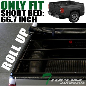 """Topline Autopart Lock Roll Up Soft Vinyl Truck Bed Tonneau Cover For 07-16 Toyota Tundra CrewMax (Extended Crew) Cab 5.5 Feet (66"""") Short Bed"""