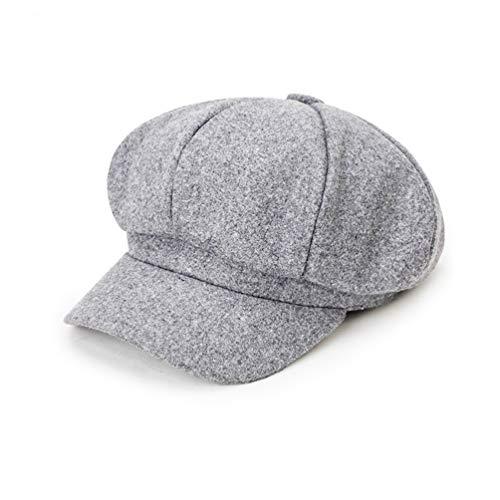 Maylisacc Newsboy Hat,Beret Cabbie Wool Blend Flat Cap Wool Blend Collection Visor Hats for Men Women -Gray ()