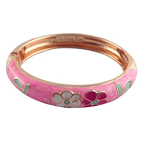 UJOY Vintage Cloisonne Flower Bracelets Wedding Birthday Jewelry Gifts Gorgeous Enameled Cuff Bangles for Women with Box 55A42 Pink