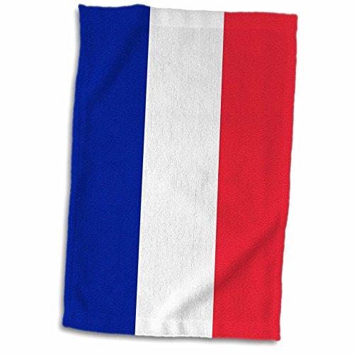 3dRose France-Blue Blanco y Rojo Rayas francés Tricolore-European Europe Country Toalla de Banderas del Mundo, 38.1x...