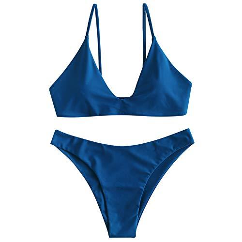 ZAFUL Women's Tie Back Padded High Cut Bralette Bikini Set Two Piece Swimsuit (Blueberry Blue, L)