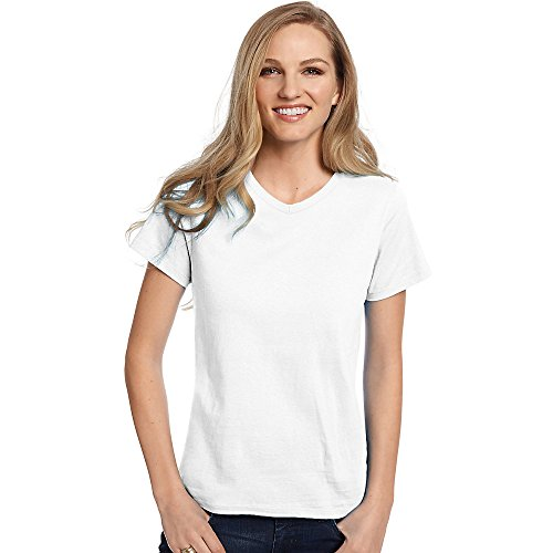 Hanes Relaxed Fit Women's ComfortSoft V-neck (Brass White T-shirt)