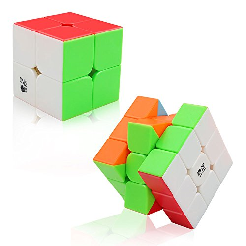 Tresbro QiYi Cube Set of 2 Pack Speed Cubes, Magic Puzzle 2x2 and 3x3 Speedcubing Toys with Stickerless and Guide for Kids and - Pack Puzzle 2