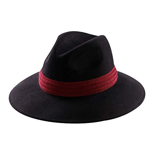 Mostyleo Womens Fedora Hat 100% Wool Felt Hats Winter Trilby Cap Wide Brim with Cotton Belt Decor (Black-Red Cotton - Felt Band Hat Wool