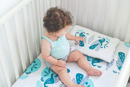 NOGILI Crib Sheet and Pillow Set Hypoallergenic 100% Organic Egyptian Cotton Baby Toddler Nursery Bed + Bonus: Watch Sheet Design Come to Life on Tablet and Phone, Crib sets for girls, Crib sets for b