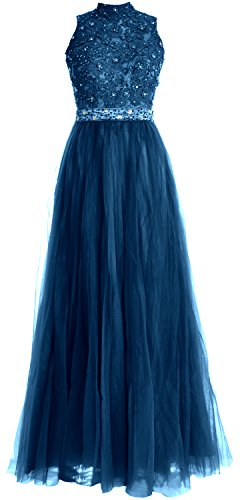 MACloth Women High Neck Lace Tulle Long Prom Dress Wedding Party Formal Gown Teal