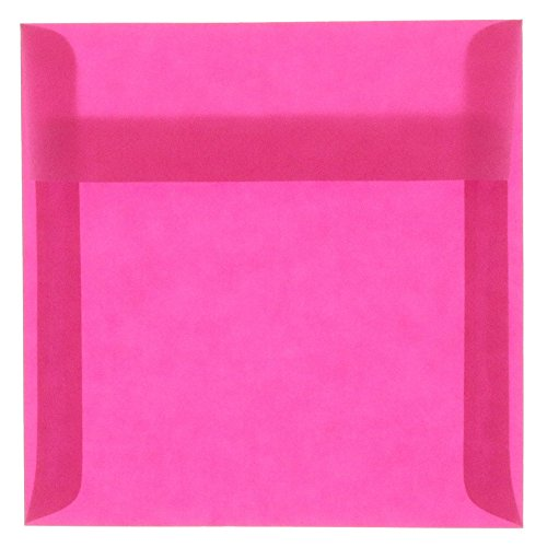 (JAM PAPER 8.5 x 8.5 Square Translucent Vellum Invitation Envelopes - Magenta Pink - Bulk 250/Box)