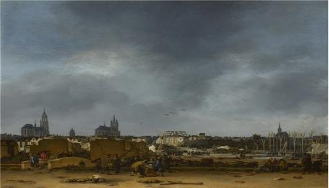The High Quality Polyster Canvas Of Oil Painting 'Egbert Van Der Poel - A View Of Delft After The Explosion Of 1654,1654' ,size: 10x17 Inch / 25x44 Cm ,this Beautiful (Delft Music Box)